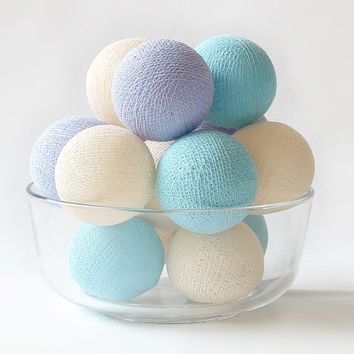 Pastel Lavender Cream Blue 20 Handmade Cotton Ball Patio Party String Lights – Fairy, Wedding, Holiday, Home Décor