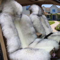 One Sheepskin Long Wool Car Seat Cover Winter Front Car Cushion Gray Tip White