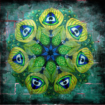Unique Colourful Peacock Mandala Mix-media Art Drawing Painting Home décor Wall Art Blue Green Eye