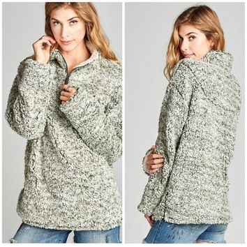 Jade Fuzzy Pullover Sweater