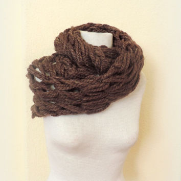 Knitted infinity scarf, brown chunky knitted scarf, hand knitted scarf, loop scarf, brown cafe mocha knitted scarves, thick winter scarf