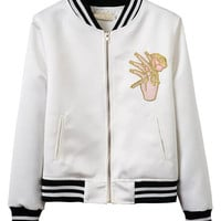 Rose Embroidery Zip Up Bomber Jacket
