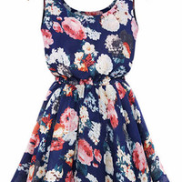 Sleeveless Floral Print High-Waisted Skater Dress