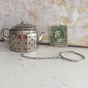 Vintage Tea Pot for Loose Leaf Tea Silver Plated Metal by BeckyPaints