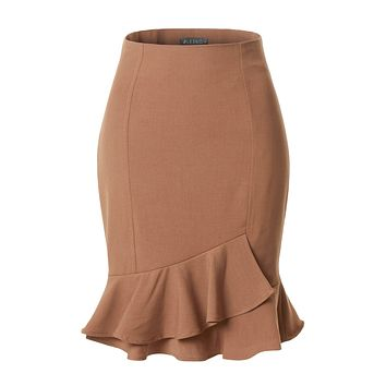 LE3NO Womens Fitted High Waisted Ruffle Pencil Office Midi Skirt with Stretch