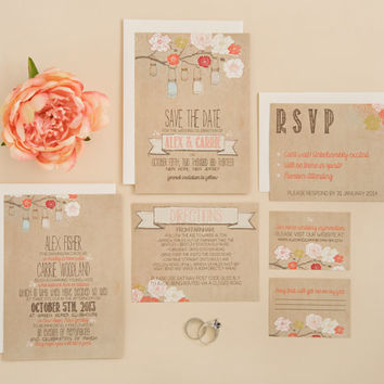 Wedding Invitation Suite Set DEPOSIT - DIY - Rustic, Kraft, Jars (Wedding Design #6) Printed, Floral, Flowers, Modern, Barn, Shabby Chic
