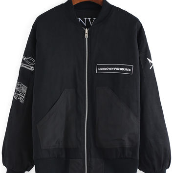 Black Stand Collar Tools Letters Printed Coat