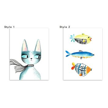 Unframed Creative Cat and Fish Picture Poster Kawaii Nordic Minimalist Bedroom Children Room Upholstery Fabric Poster Paintings
