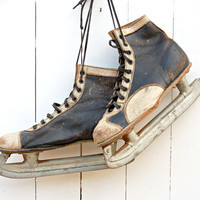 Vintage Black and White Leather Ice Skates