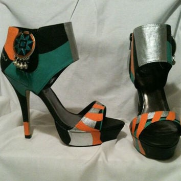 Funky Tribal Custom Hand Painted Stiletto High Heels Pumps