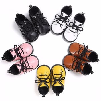 2017 Fashion Children Leather Boots Female Male Martin Boots Boys Girls Single Shoes Little Girl Spring Baby Boots Kids Sneaker