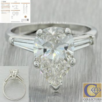 Platinum 3.47ct GIA Pear Shape Tapered Baguette Diamond Engagement Ring A1