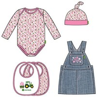 John Deere Baby Denim Skirt Overalls 4-Piece Layette Set (3-9 Months) - LP33771