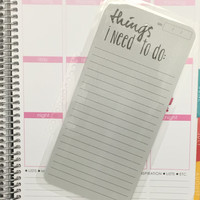 FREE SHIPPING Things I Need To Do List Laminated Dashboard Insert for Erin Condren Life Planner/Plum Paper Planner - clips right into coils!
