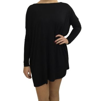 Black Piko Tunic Long Relaxed Sleeve Top