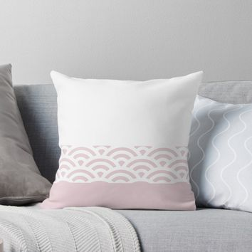 'Rainbow Trim Pale Pink' Throw Pillow by poisondesign