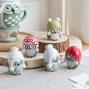 Miz 1 Piece Home Decoration Accessories Owl Figurine Birthday Gift for Children Small Animal Figure Ceramic Doll