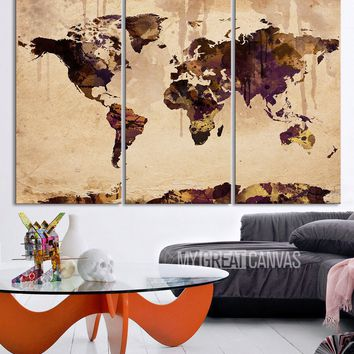 Retro World Map - Vintage World Map with Water Infıltration Canvas Print  Ready to Hang 3 Panels Stretched on Deep 3cm Frame
