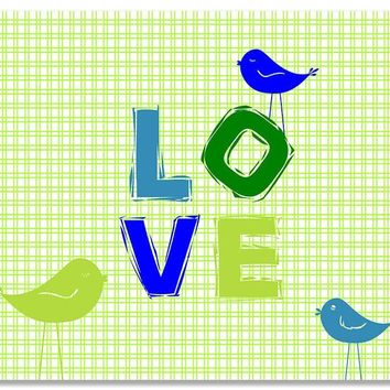 Love III with Little Birdies Children's Print Wall Art