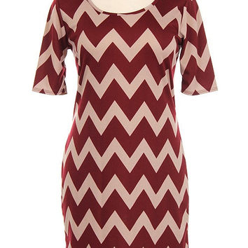 Chevron Plus Size Burgundy Dress - Steele's Southern Boutique, LLC