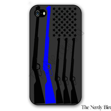 Thin blue line flag and riffles iPhone 4, 5, 5c, 6 and 6 plus and Samsung Galaxy s3, s4 and s5 phone case