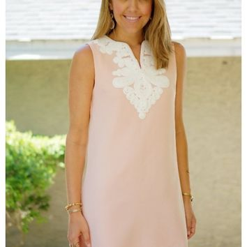 Blush shift dress with embroidered neckline | Kaylin | escloset.com