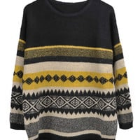 Contrast Color Patterns Pullover