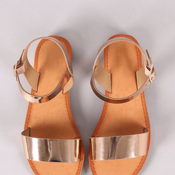 Metallic Open Toe Ankle Strap Flat Sandal