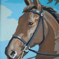Bay By The Numbers - Vintage Mid-Century Framed Paint-By-Number Bridled Horse