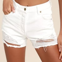 Rollas Original White High-Waisted Distressed Shorts