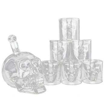 Skeleton Shaped Glass Cup Drinking Glassware Drinkware Whiskey and Liquor Decanter Gift Set 6 Double Walled Glasses Heat Resistant for Beer Wine