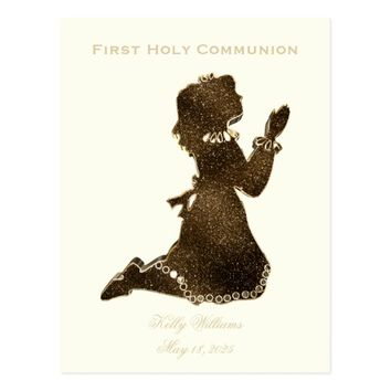 First Holy Communion Praying Girl Gold Elegant Postcard