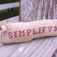 Primitive Completed Cross Stitch Simplify Pinkeep by Stitchcrafts
