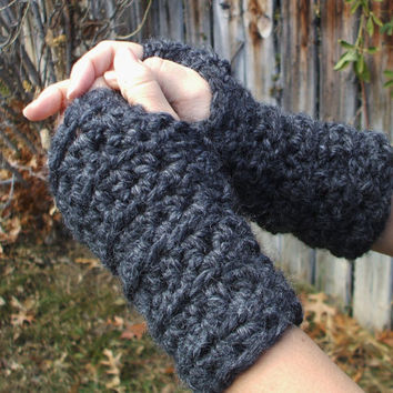 Bulky Fingerless Gloves Charcoal Made to by SoLaynaInspirations