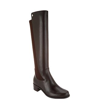 Marc Fisher Incept Wide Calf Dark Brown Leather Tall Shaft Boots