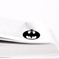 Bookmark Batman LOGO laser cut metal powder coated black Stylish unique gift for book lover Free shipping.