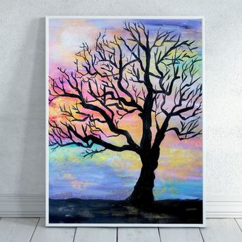 Tree Silhouette, Colorful Tree Silhouette, Tree Painting, Tree with sunset, Sunset, Painting, Download, Tree Art, Home Decor, Printable
