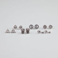 Full Tilt 6 Pairs Owl/Key/Triangle Earrings Silver One Size For Women 24278714001