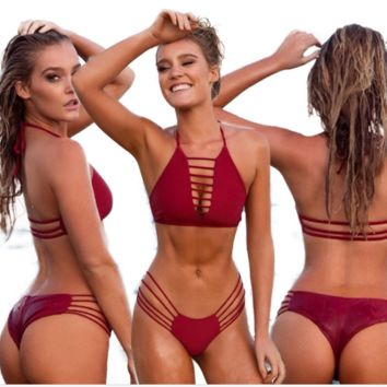 HOT SEXY HOLLOW OUT TWO PIECE BIKINI WINE RED