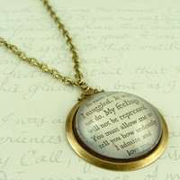 Jane Austen Literary Lovers Book Quote Glass Necklace - Pride and Prejudice