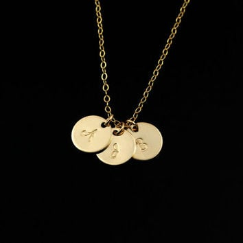 1 2 3 4 5 Initial Necklace, 14k Gold Initial Necklace, Personalized Necklace, Personalize Jewelry Monogram Necklace, Mom, Family Initials