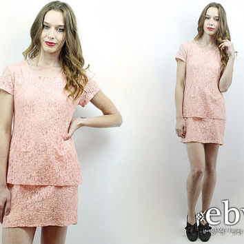 Pink Lace Dress 90s Lace Dress Blush Lace Dress 90s Dress 1990s Dress 90s Party Dress Blush Dress My Michelle Dress 90s Mini Dress S