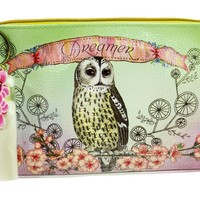 "Vintage Design Owl & Flower "" Dreamer"" Graphic Art Design Oil Cloth Medium Make-up or Accessory Travel Bag"