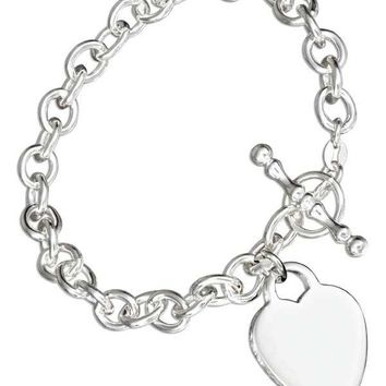 "Sterling Silver 7"" Italian Toggle Bracelet With Heart Charm"
