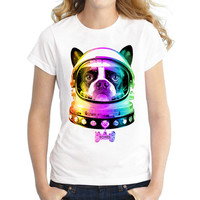 2017 Women Space Dog T-Shirt Short Sleeve Casual Tops Novelty Printed T Shirts Fashion Tee