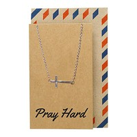 Aaliyah Sideways Cross Necklace