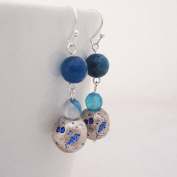 Blue Agate Earrings, Blue Gemstone Earrings, Handmade Blue Agate Earrings, Dangle Agate Earrings