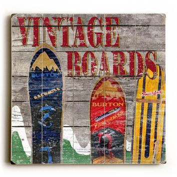 Vintage Snowboards by Artist Karen Williams Wood Sign