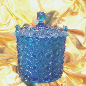 Stunning Fenton Art Glass Colonial Blue Ice Bucket Covered Sugar Bowl - Button and Daisy Pattern, Blue Crystal Sugar Bowl, Fenton Art Glass