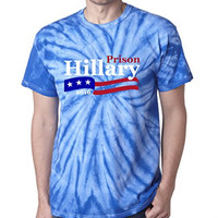 "TIE DYE RED Hillary Clinton ""Hillary For Prison 2016"" T-Shirt ADULT 3XL"